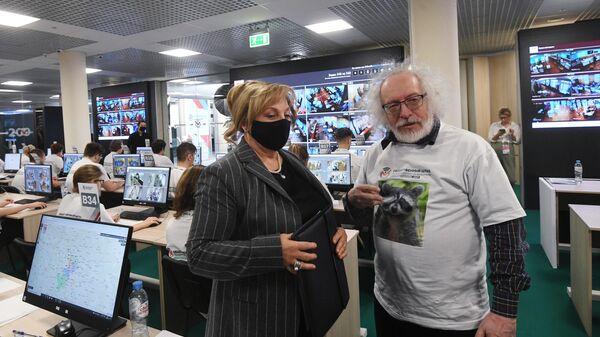 Председатель Центральной избирательной комиссии (ЦИК) РФ Элла Памфилова во время посещения Общественного штаба по наблюдению за выборами