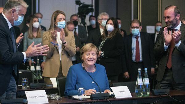 Канцлер Германии Ангела Меркель во время заседания Европейской народной партии в Берлине
