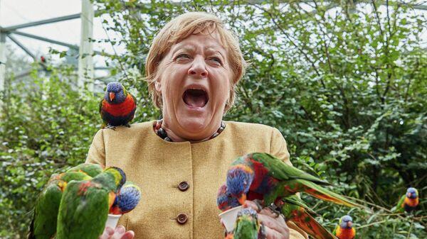 Канцлер Германии Ангела Меркель в Парке птиц в городе Марлов, Германия