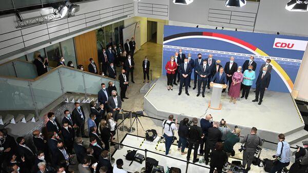 Партия ХДС (Христианско-демократический союз Германии) после объявления данных эзит-поллов на выборах в Германии