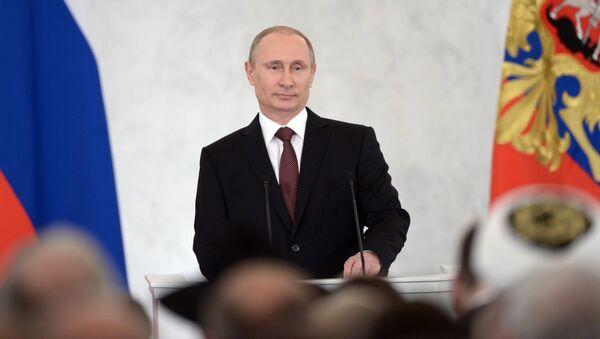 Выступление Владимира Путина по вопросу принятия Крыма в состав России. Фото с места событий