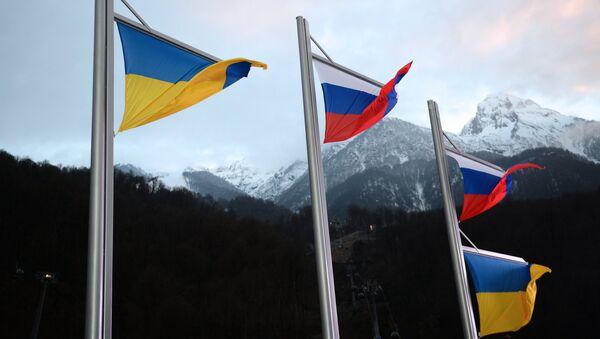 Национальные флаги Украины и России. Архивное фото