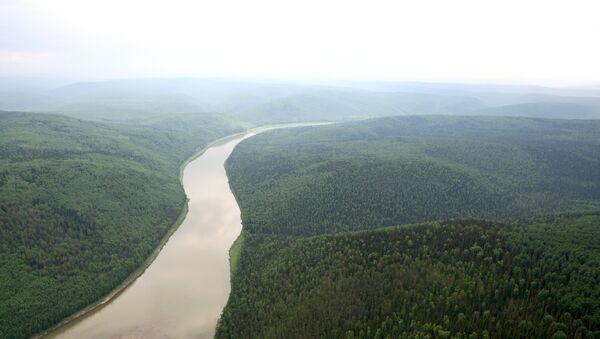 Вид на реку Большой Пит. Сибирь. Архивное фото