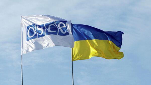 Флаги ОБСЕ и Украины. Архивное фото