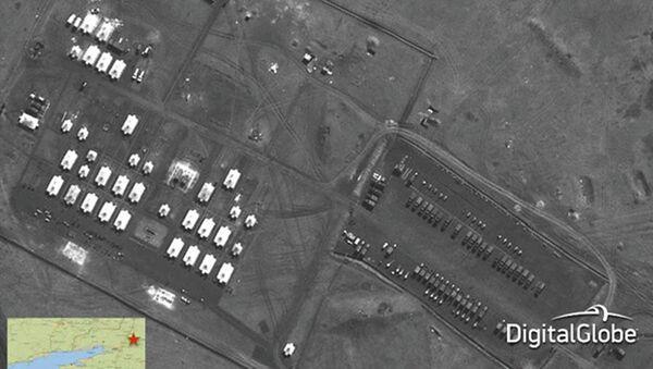 Спутниковый снимок, якобы показывающий российский артиллерийский дивизион, размещенный в Новочеркасске