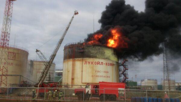 Пожар на территории ТПП Лукойл-Усинскнефтегаз в Коми