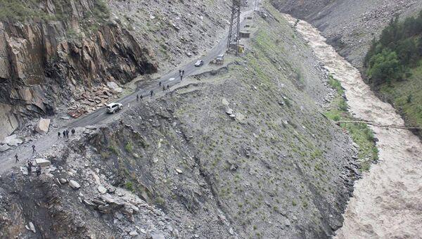 На месте камнепада в Цунтинском районе Дагестана