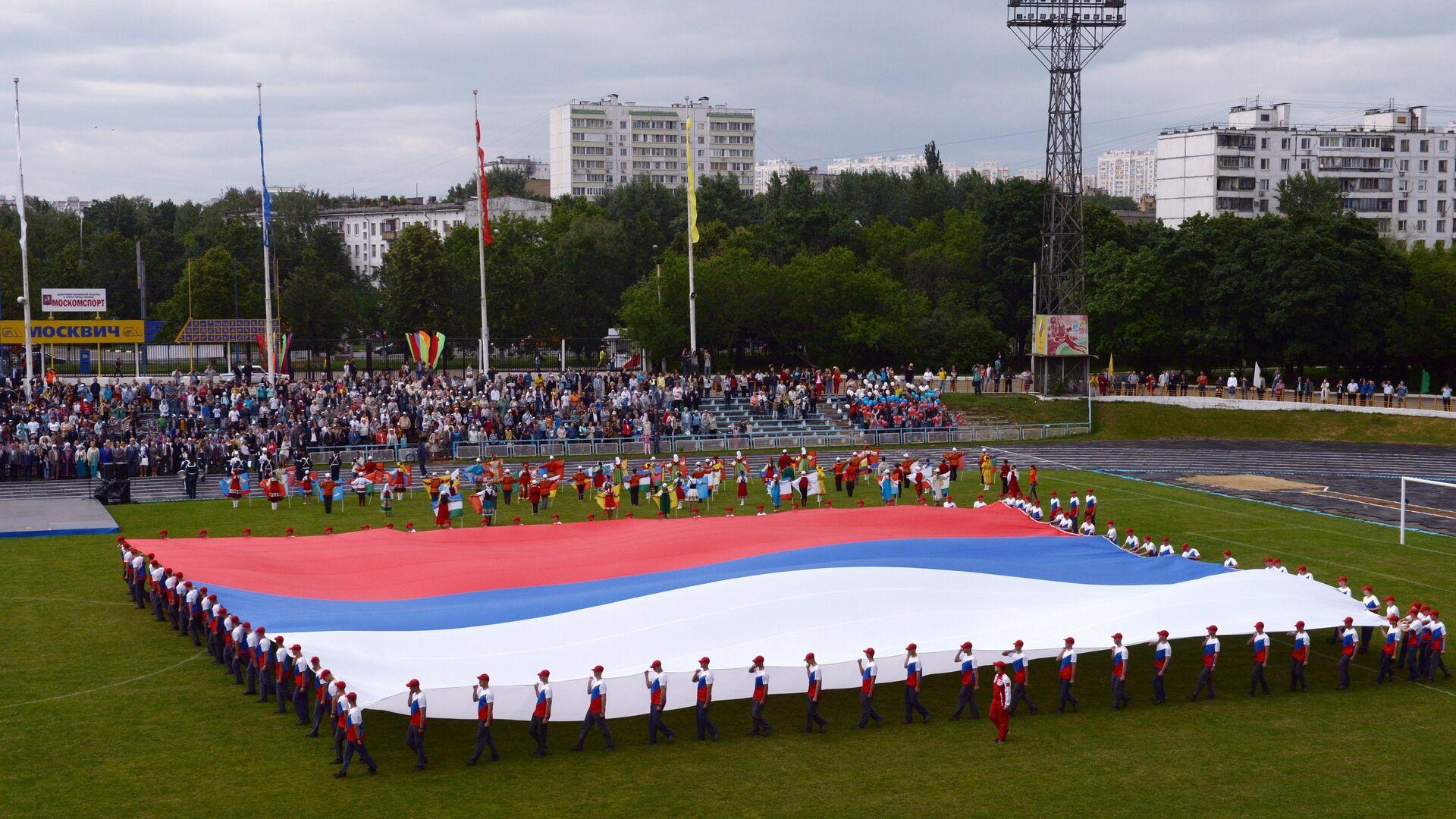 Презентация самого большого флага России на стадионе Москвич в городе Москве - РИА Новости, 1920, 14.11.2020