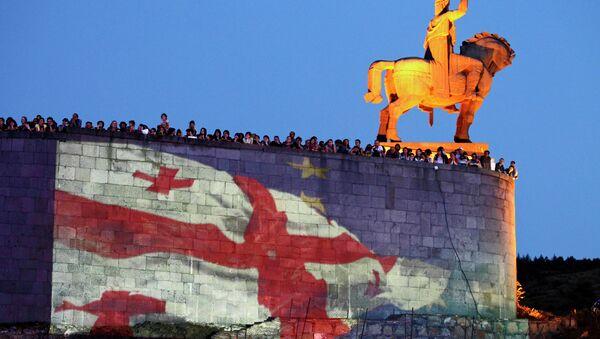 Проэкция флагов Грузии и Евросоюза в Тбилиси. Архивное фото
