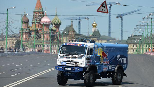 Автомобиль команды КАМАЗ-Мастер во время шоу Moscow City Racing в Москве. Архивное фото