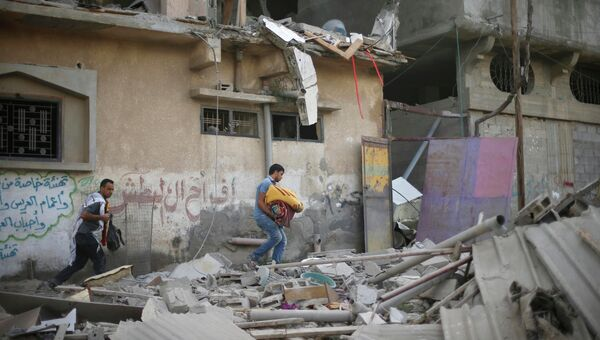 Последствия обстрела сектора Газа в июле 2014 года