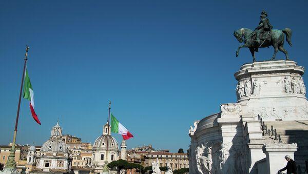 Площадь Венеции (Piazza Venezia) в Риме, архивное фото