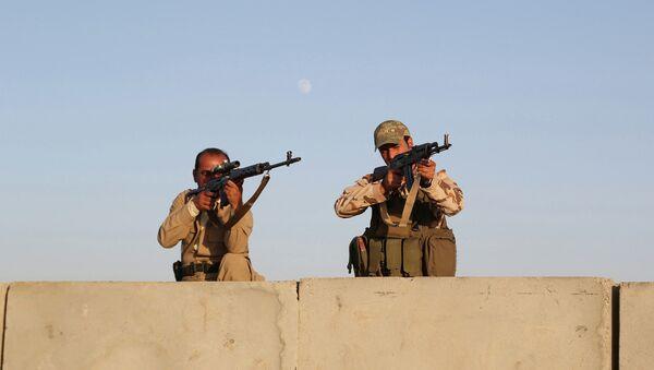 Курдские боевики Пешмерга во время авиаудара по силам Исламского государства возле города Эрбиль на севере Ирака