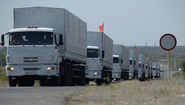 Колонна с гуманитарной помощью из РФ на границе с Украиной. Архивное фото