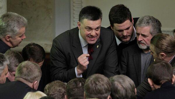 Лидер националистической партии Свобода Олег Тягнибок на заседании Верховной Рады Украины. Архивное фото