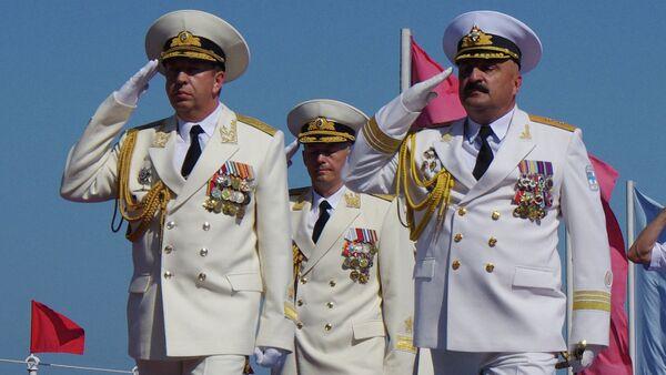 Командующий ЧФ контр-адмирал Александр Федотенков и Командующий ВМС Украины вице-адмирал Юрий Ильин. Архивное фото