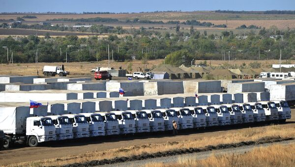 Подготовка к отправке гуманитарного конвоя в Ростовской области. Архивное фото