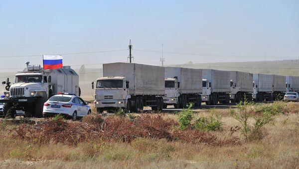 Подготовка к отправке третьего гуманитарного конвоя в Ростовской области. Архивное фото