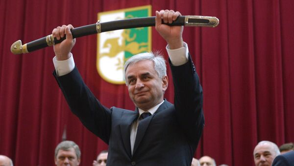 Инаугурация избранного президента Абхазии Рауля Хаджимбы