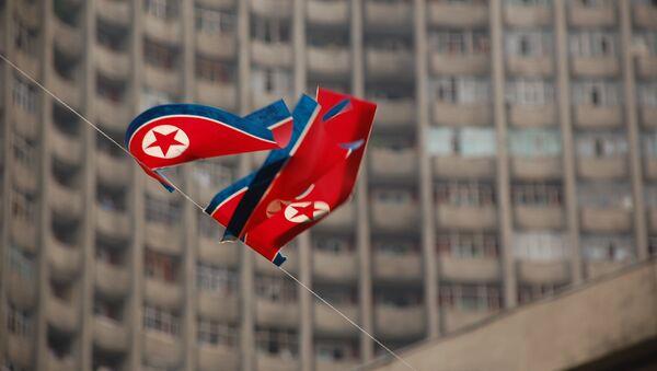 Флаг КНДР, архивное фото