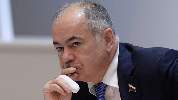 Вице-спикер СФ Ильяс Умаханов во время заседания Совета Федерации РФ. Архивное фото