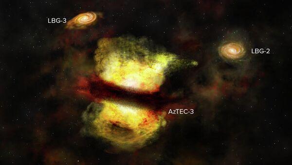 Художественное изображение слияния галактик AzTEC-3