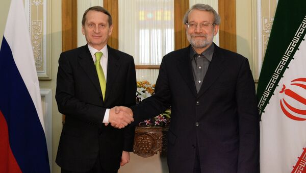 Председатель Государственной Думы РФ Сергей Нарышкин и председатель парламента Ирана Али Лариджани во время встречи в Тегеране