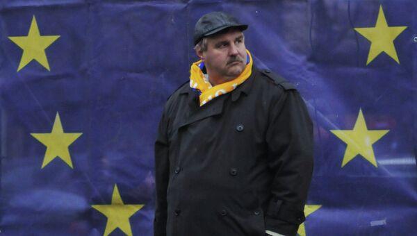 Во время памятных мероприятий во Львове, посвященных годовщине начала событий на киевском Майдане, архивное фото