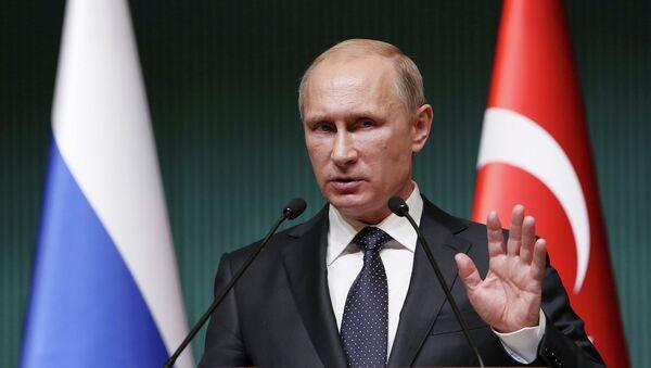 Президент России Владимир Путин во время выступления в Президентском дворце Анкары