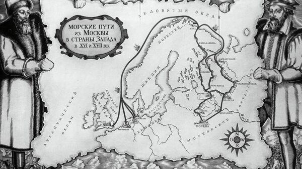 Карта морских путей из Москвы в Европу