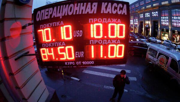 Табло с курсом валют в Москве. 16 декабря 2014