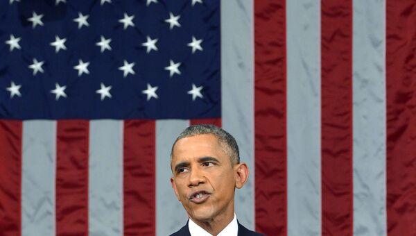 Президент США Барак Обама выступает с посланием О положении страны