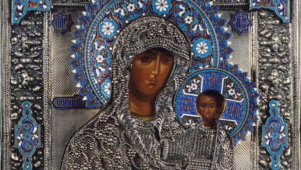 Репродукция иконы Богоматерь Смоленская в окладе