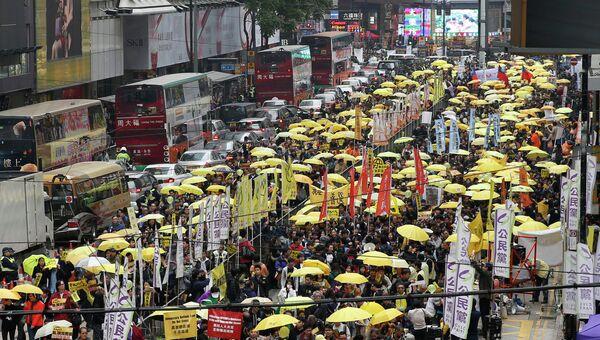 Демонстранты на улицах Гонконга. Архивное фото