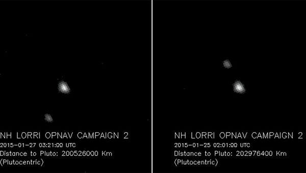 Снимки Плутона и Харона, полученные камерой LORRI на борту зонда New Horizons 25 и  27 января