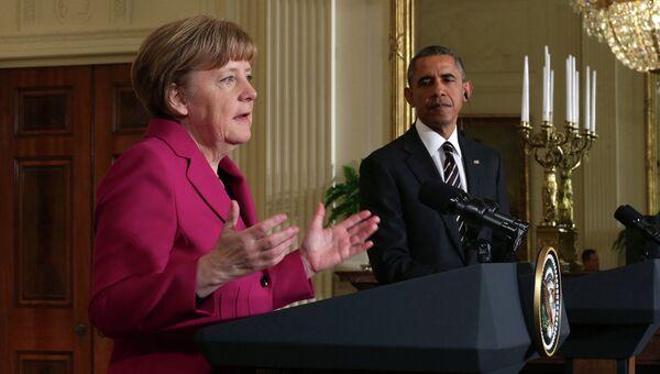 Канцлер Германии Ангела Меркель и президент США Барак Обама. 9 февраля 2015