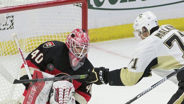 Евгений Малкин забивает гол в матче Питтсбург - Оттава в НХЛ, 12 февраля 2015