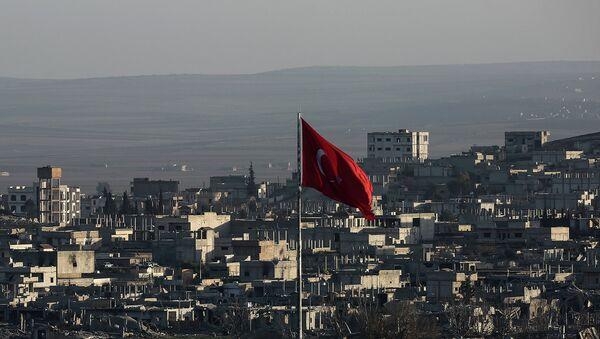 Турецкий флаг в пограничном с Сирией турецком городе. Архивное фото