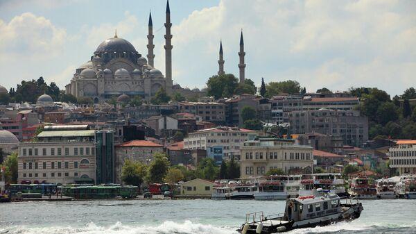 Вид на Голубую мечеть через пролив Босфор в Стамбуле. Архивное фото