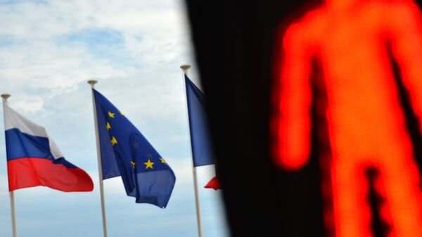 Флаги России и Евросоюза. Архивное фото