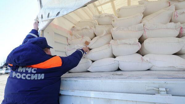 Сотрудник МЧС России демонстрирует содержимое груза с гуманитарной помощью. Архивное фото