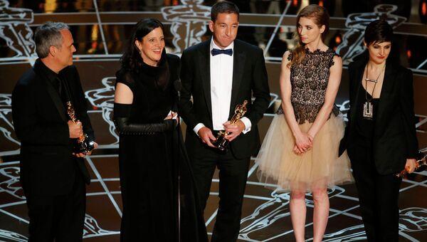 Создатели документального фильма о Сноудене Гражданин четыре на вручении премии Оскар