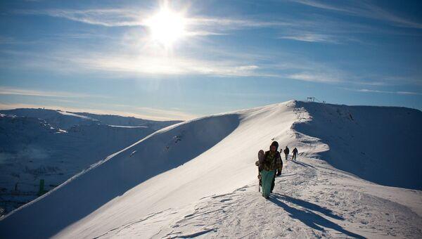 Сноубордисты в Хибинах