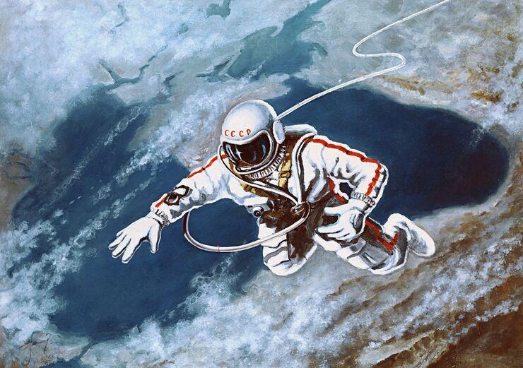 Репродукция рисунка летчика-космонавта Алексея Леонова Над Черным морем. 1968 год
