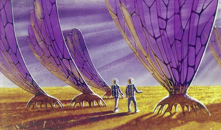 Рисунок Полдень Марса работы летчика-космонавта Алексея Леонова и художника-фантаста Андрея Соколова. 1970 год