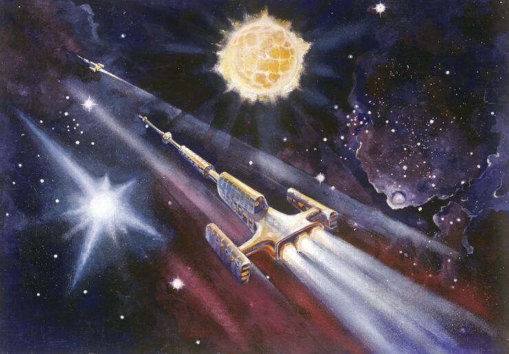 Репродукция рисунка космонавта Алексея Леонова Золотая Цефея. 1971 год