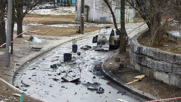 На месте взрыва автомобиля командира батальона патрульной службы милиции Слобожанщина в Харькове