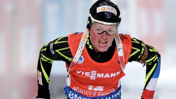 Француженка Мари Дорен-Абер. Чемпионат мира по биатлону в Контиолахти, Финляндия.