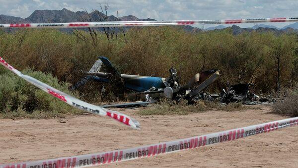 Место крушения двух вертолетов, столкнувшихся в Аргентине