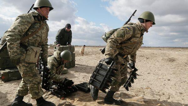 Украинские военные во время учений на полигоне возле Житомира, Украина